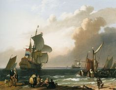 Ludolf Backhuysen, 1692 - - - Coastal Scene with a Man-of-War and Other Vessels