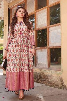Buy Urvashi Rautela Multi Color Lawn Cotton Print with Fancy Botton and Pompom Kurti Silk Kurti Designs, Kurta Designs Women, Kurti Designs Party Wear, Lehenga Designs, Blouse Designs, Simple Dresses, Stylish Dresses, Indian Fashion Dresses, Fashion Outfits