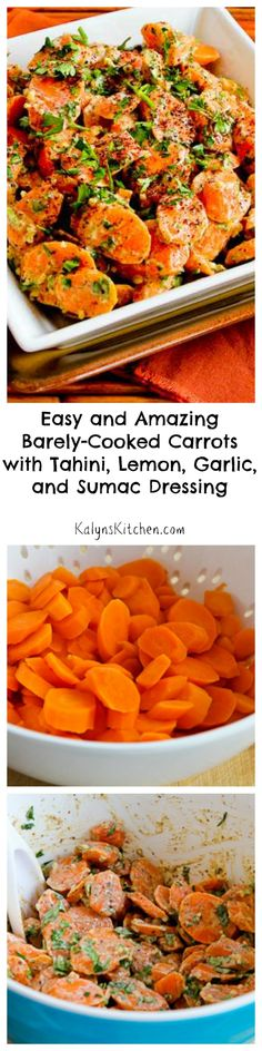 Admittedly cooked carrots don't have a reputation for being exciting, but these Easy and Amazing Barely-Cooked Carrots with Tahini, Lemon, Garlic, and Sumac Dressing really are mind-blowingly good! #Paleo #GlutenFree #Vegan [from KalynsKitchen.com]
