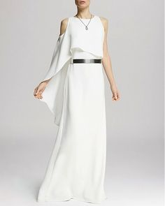 Halston Heritage Asymmetric Flutter Sleeve Gown ($357)