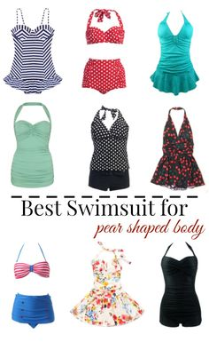 The best swimsuit for a pear shaped body! Summer fashion tips for women who carry their weight around the hips and thighs.