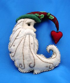 Passifora Santa Cresent Moon With Heart Christmas Ornament