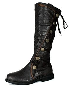 Glorious Chloe Black Leather Knee High Moto Biker Military Boots Size 38 7.5 Women's Shoes