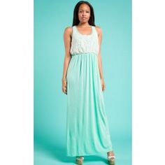 Mint Maxi Dress with Crochet Detail $39.99