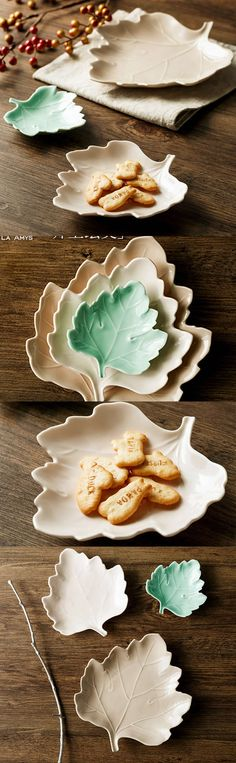 Porcelain Maple Leaf Dessert Bowls Snack Bowls, Set of 2 Snack Bowls, Dessert Bowls, Cool Office Supplies, Snacks Dishes, Pottery Ideas, Office Gifts, Advent, Biscuit, Hair Ideas