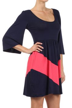 Chevron Stripe Bell Sleeve Dress - Navy and Coral - $21.75  Visit www.shopownit.com