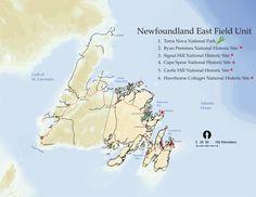 Map of Terra Nova National Park of Canada Parks Canada, St Lawrence, Newfoundland And Labrador, Canada Travel, Historical Sites, Nova, National Parks, Map, Maps