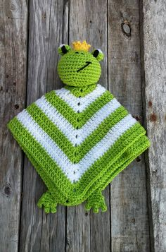 Frog Prince Crochet Lovey Green White Yellow door TheStorkStitcher