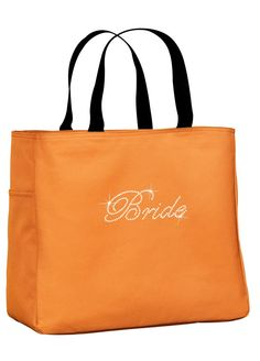 Rhinestone Bride Tote Bag - Orange