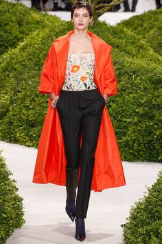Red Silk Taffeta Swing Coat, Beautiful Embroidered Bustier Paired with Close-Fit Mens Wear Trousers for Christian Dior Spring 2013 Couture Collection, Remarkable.