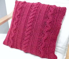 (6) Name: 'Knitting : Chunky cable cushion cover