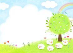 일러스트/수채화/백그라운드/카피스페이스/종교/기독교/천주교/하늘/사람없음/구름/초원/나무/꽃/양/양떼/가축/무지개/실외/평화/들판/