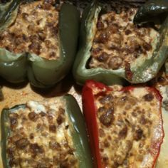 Stuffed peppers with hot sausage and cream cheese.  Cook sausage, mix in cream cheese, fill peppers, bake 400 degrees covered for one hour. It's delicious!!!!!