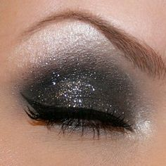 black & gray/silver eye shadow w/ sparkles for New Year's Eve