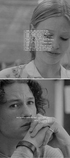 10 things i hate about you don't, for one minute, think that you had any effect whatsoever on my panties. Other than my upchuck reflex nothing Iconic Movies, Great Movies, Love Movie, Movie Tv, Movies Showing, Movies And Tv Shows, Favorite Movie Quotes, Movie Couples, Movie Lines