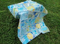 Lilly Pulitzer Baby Quilt  Blue and Yellow by bytillie on Etsy, $185.00
