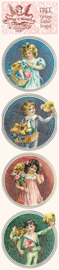 Wings of Whimsy: Vintage Easter Children Scraps - free for personal use vintage ephemera