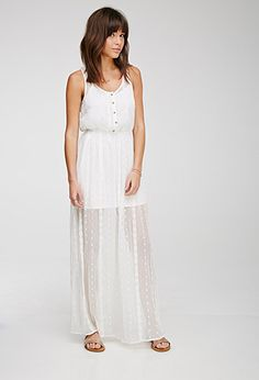 Embroidered Gauze Maxi Dress   Forever 21 - 2000132497
