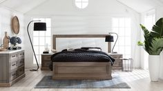 Hamptons Bed Frame with Leather Bedhead | Domayne