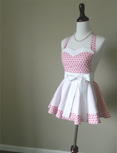 Womens Apron  Pink Retro style apron by thedaintyapronista on Etsy, $42.00