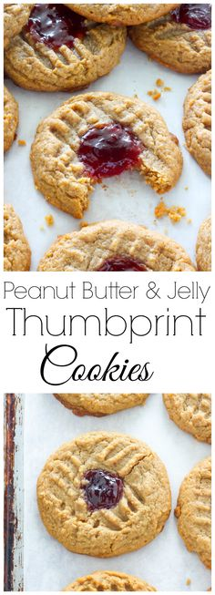 Flourless Peanut Butter and Jelly Thumbprint Cookies - Baker By Nature