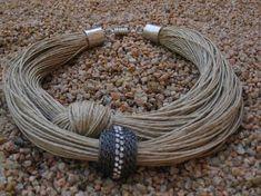 Rhinestone Necklace Linen Magnetic Clasp EcoFriendly by Rhinestone Necklace, Beaded Earrings, Beaded Jewelry, Handmade Jewelry, Crochet Jewellery, Textile Jewelry, Fabric Jewelry, Rope Jewelry, Jewelry Crafts