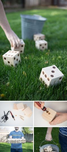 DIY Yard Yahtzee: hese Yard Yahtzee are easy to make with some wood cubes! Take your family fun night outside this summer with Yard Yahtzee outdoor game.