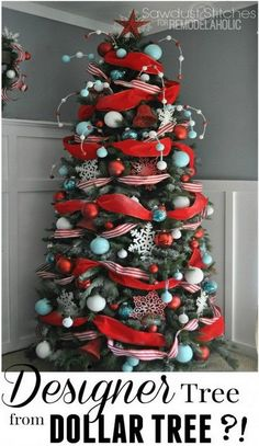 Designer Look Christmas Tree Using Dollar Store Supplies