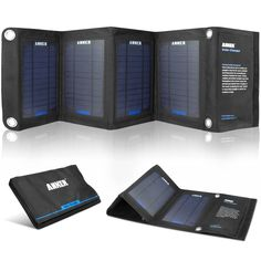 Anker 14W Solar Panel Foldable Dual-port Solar Charger for 5V USB-charged Devices Including GPS Units, iPhone, iPad, Android Phones and Andr...