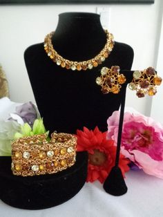 """VOGUE Jewelry Set, Amber, Gold, Clear Rhinestone Necklace 17"""", Bracelet 7"""" by 1.5"""" wide and Matching Earrings 1.25"""".Guaranteed to be the most beautiful set you have ever seen.  This one I love! It is truly a must have for any collector."""
