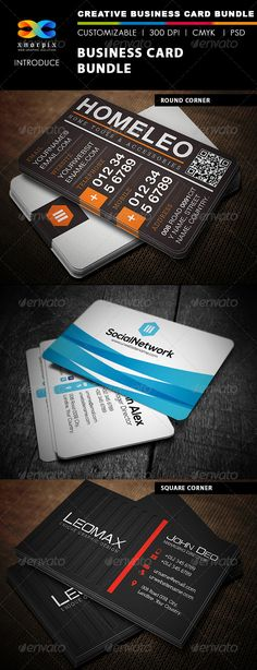 Business Card Bundle 3 in 1-Vol 1  #GraphicRiver         Features :    •  Round /square corner possible. •  Easy to edit. •  Landscape Design. •  Optimized for printing / 300 dpi. •  CMYK color mode. •  3.5 x 2 inch dimension. •  0.25 Beed. •  Included files are 2 psd (front & back) & help.txt. •  All PSD files are Grouped & layered. •  Adobe Photoshop CS4 version.   Items in this pack   • Code Business Card   •  Track Business Card   • Blue Business Card  Please don't forget to rate my…