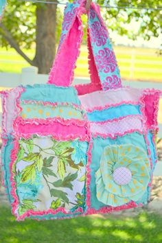 Diaper Bag in Turquoise and Hot Pink Ruffle by avisiontoremember
