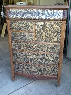 WOWZA! Are you ready to pick your jaw up off the ground after seeing Barbara's gaw-geous Paisley Allover stenciled chest? Love it? Make it yours! http://www.cuttingedgestencils.com/paisley-allover-stencil.html