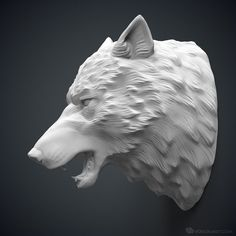 For printing or CNC carving 3d Printing Business, 3d Printing Industry, 3d Printing Service, Wolf Totem, Animal Sculptures, Lion Sculpture, Angry Wolf, 3d Printing Machine, Geometric Wolf