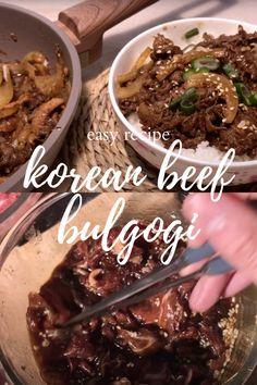 how to make beef bulgogi Korean Bulgogi, Korean Beef, Korean Food, Asian Foods, Asian Recipes, Easy Recipes, One Pan Meals, Easy Meals, English Scones