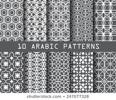 10 Different Arabic Patterns Pattern Swatches Stok Vektör (Telifsiz) 247077328 Vektor Muster, Geometric Tattoo Pattern, Page Background, Arabic Pattern, Black And White Lines, Stock Foto, Vector Pattern, Illustrations, Wallpaper