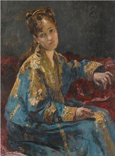 Lady in Blue - Alfred Émile Léopold Stevens (1823-1906)