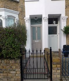 Multi colour Victorian mosaic yellow brick render walls planting fence London Brockley Dulwich Forrest Hill
