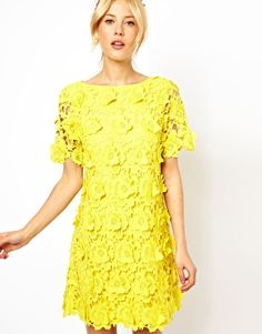 Image 1 ofASOS Shift Dress With 3D Flower Lace