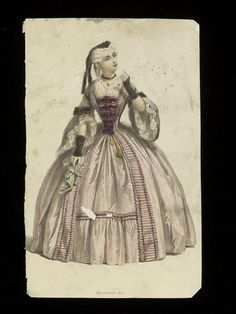 ca. 1860 engraving of 18th-century fancy dress from the houses of Worth/Paquin archival collection. V&A Museum.