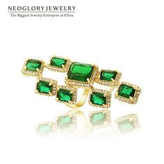 Austrian Rhinestone AAA Green Zircon Gold Plated Big Ring for Women Gift Charm Jewelry  New Fashion CLE