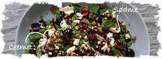 SalatTøsen  » Spinatsalat med kirsebær, feta og stegte mandler