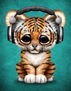 Cute Tiger Cub Dj Wearing Headphones on Blue | Jeff Bartels