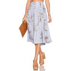 Tularosa Carver Skirt (€135) via Polyvore featuring skirts, button front skirt, button down skirt, embellished skirt, button up skirt und elastic waist skirt