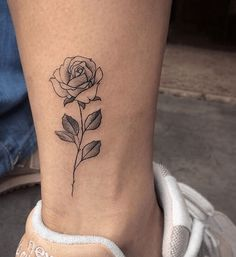 Rose Tattoo on Bottom Leg