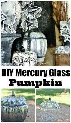 Easy to make mercury glass pumpkin for fall!  Create a fun fall mantel with a DIY mercury glass pumpkin.