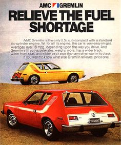 AMC Gremlin, LOL, ugliest car ever. I dated a guy who had a blue one and called it The Smurf.