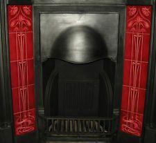 MAGNIFICENT ART NOUVEAU FIREPLACE TILES SET (2 X 5 TILE PANELS) AN25 RED