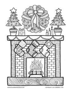 Fireplace Stockings Christmas Coloring Page for adults and grown ups. Coloring pages for all artists. Charming Christmas image with wreath, present, fire, candles, christmas tree, stockings, and stars. Hand drawn with lots of details for coloring stress relief and pain relief. By Jennifer Stay at Coloring Pages Bliss.