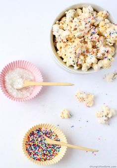 FAIRY BIRTHDAY PARTY IDEAS: This Pixie Dust Popcorn recipe at Hungry Food Love is a must for any fairy birthday party.